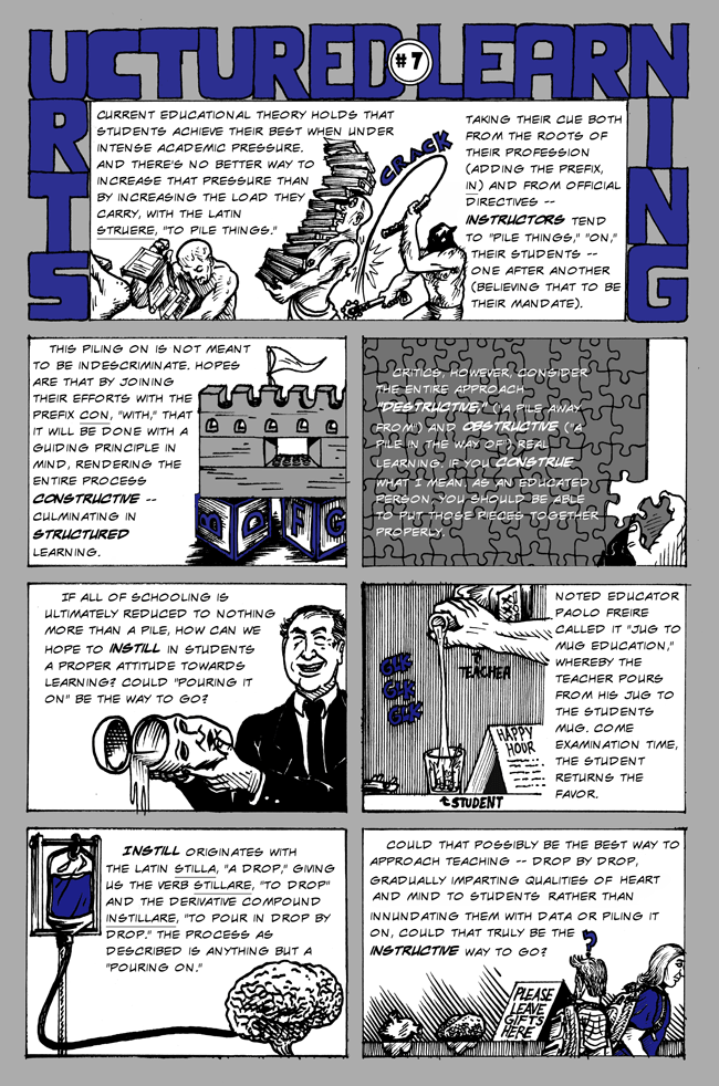 Language comics by Larry Paros. In So Many Words. Book 2. Structured Learning.
