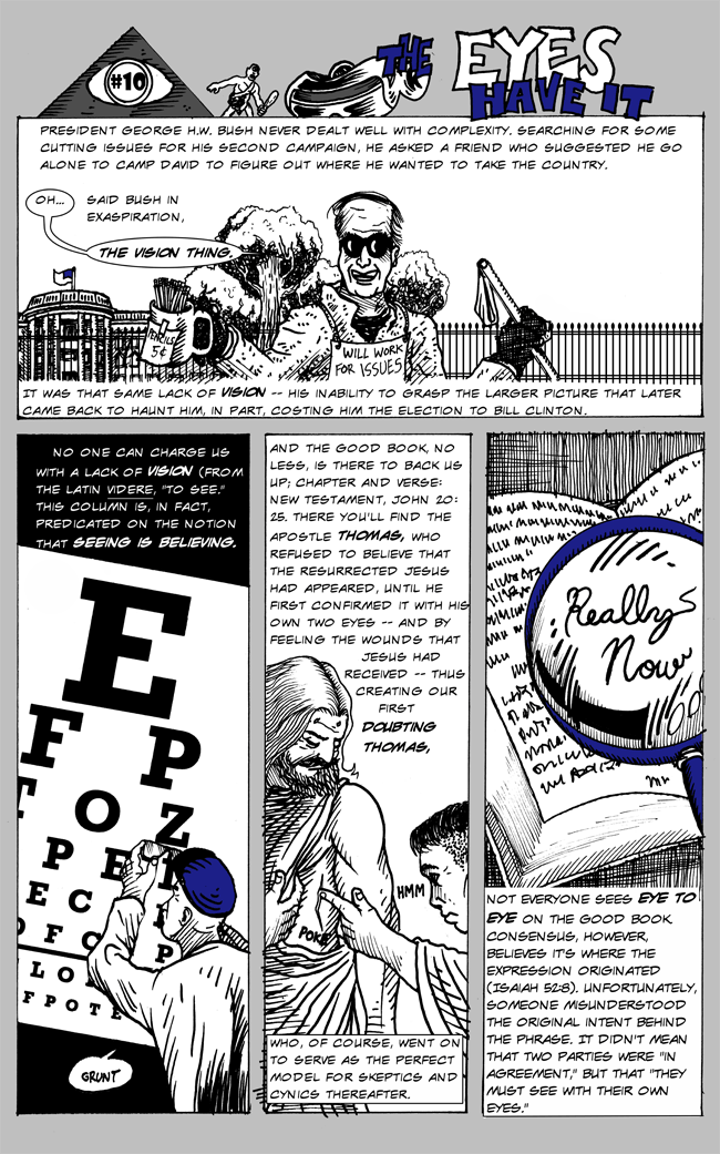 Healthy Living comics by Larry Paros. In So Many Words. Book 3. The Eyes Have It.