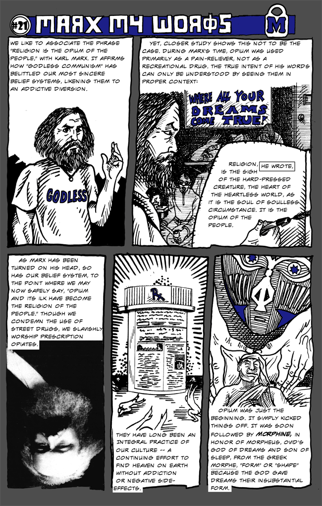 Healthy Living comics by Larry Paros. In So Many Words. Book 3. Marx My Words.